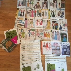 Lot of 42 Vintage 60s 70s 90s Sewing Patterns